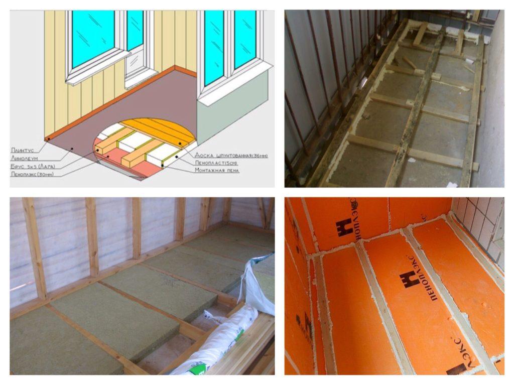 укладка утеплителя для пола балкона