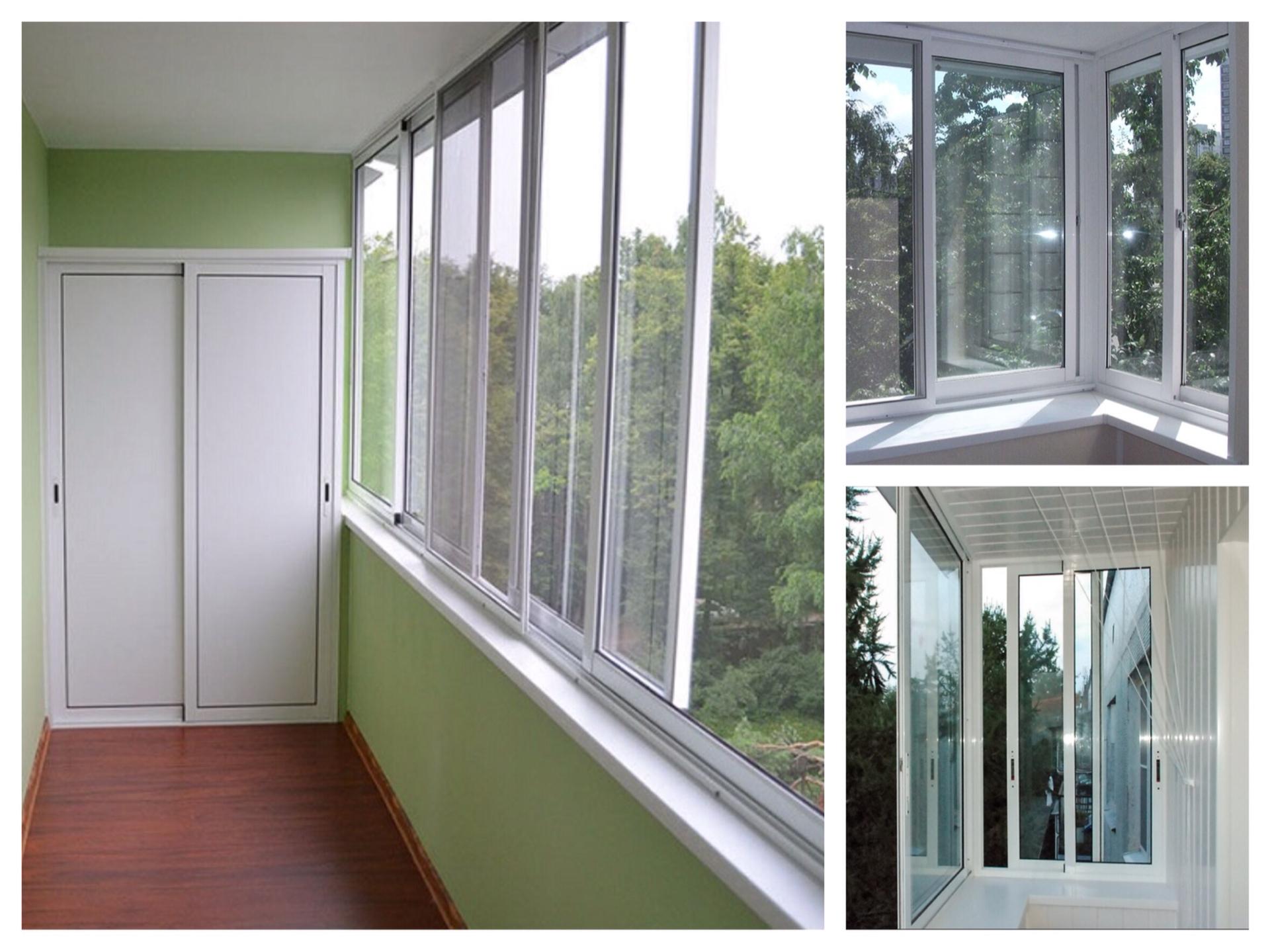 Остекление балконов и лоджий раздвижным алюминием: фото, вид.