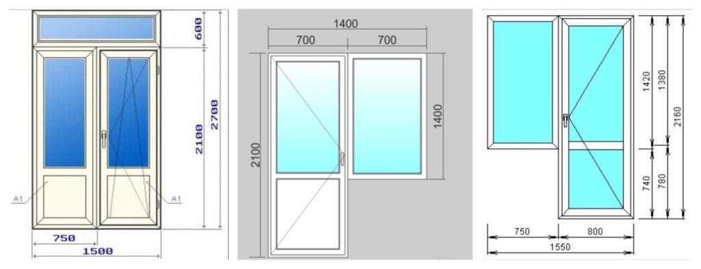 типовые размеры и размещение створок в балконном блоке