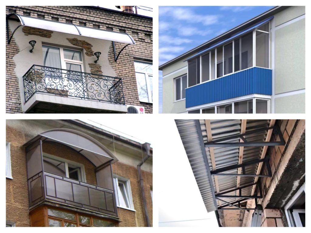 варианты крыш на балконах