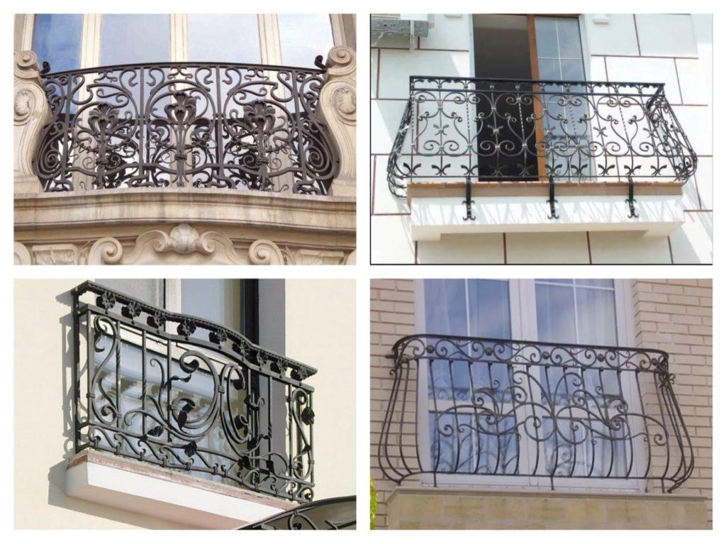 небольшие кованые балконы и перила