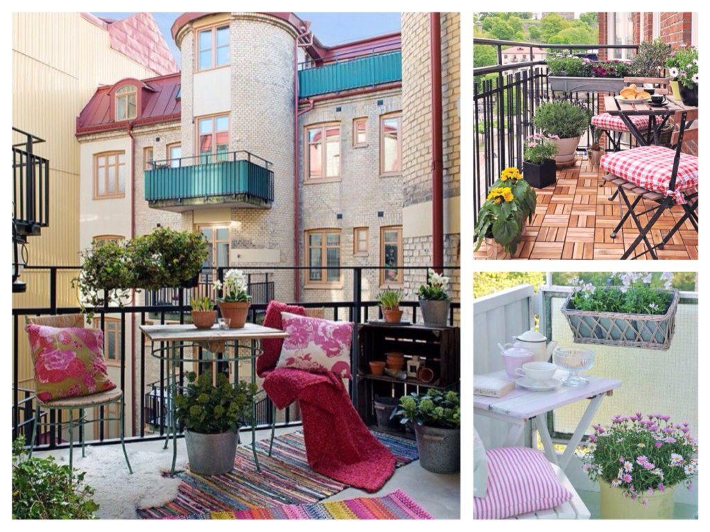 яркий текстиль на балконе