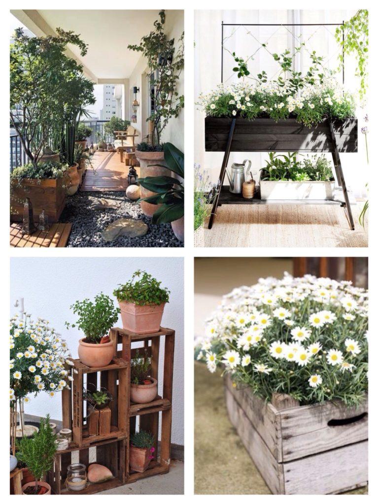 использование ящиков в цветочном декоре балкона