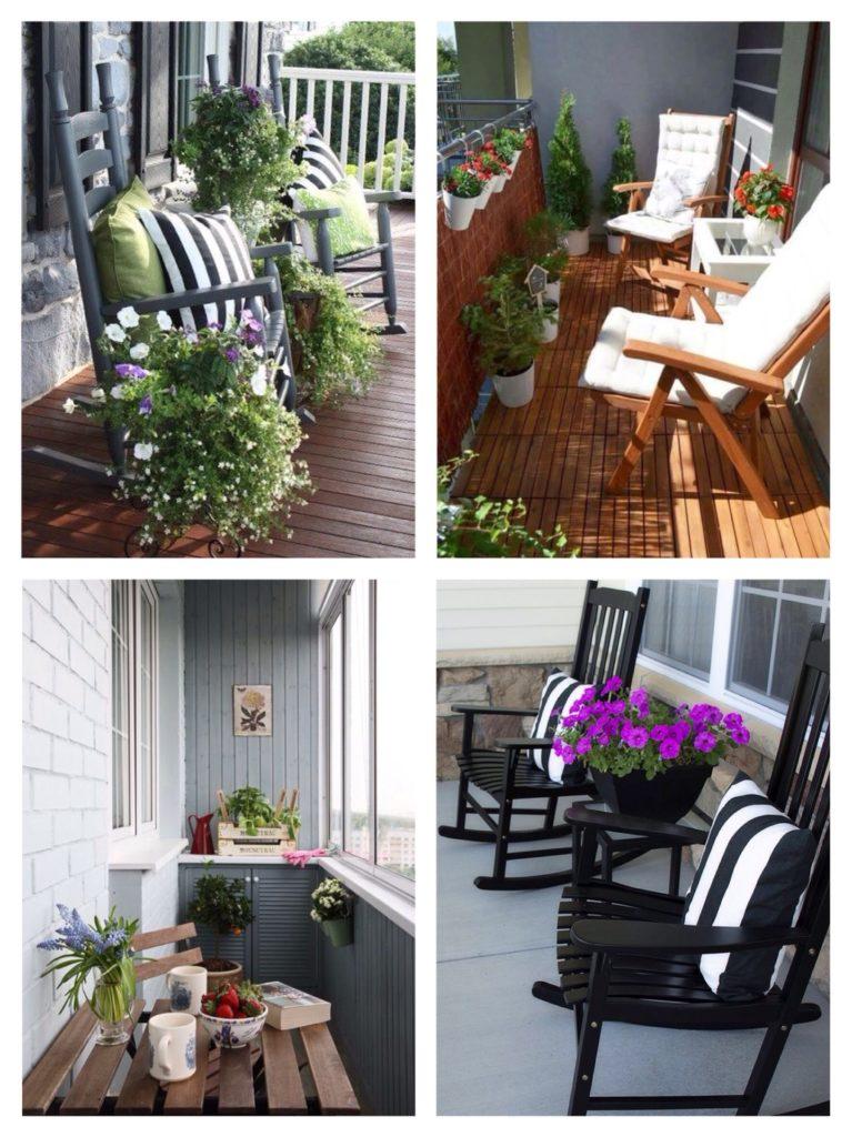 цветочное оформление зоны отдыха на балконе