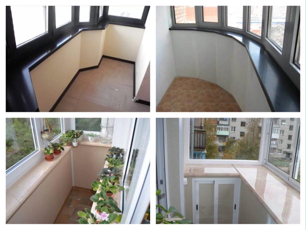 варианты стыков подоконника на балконе лоджии