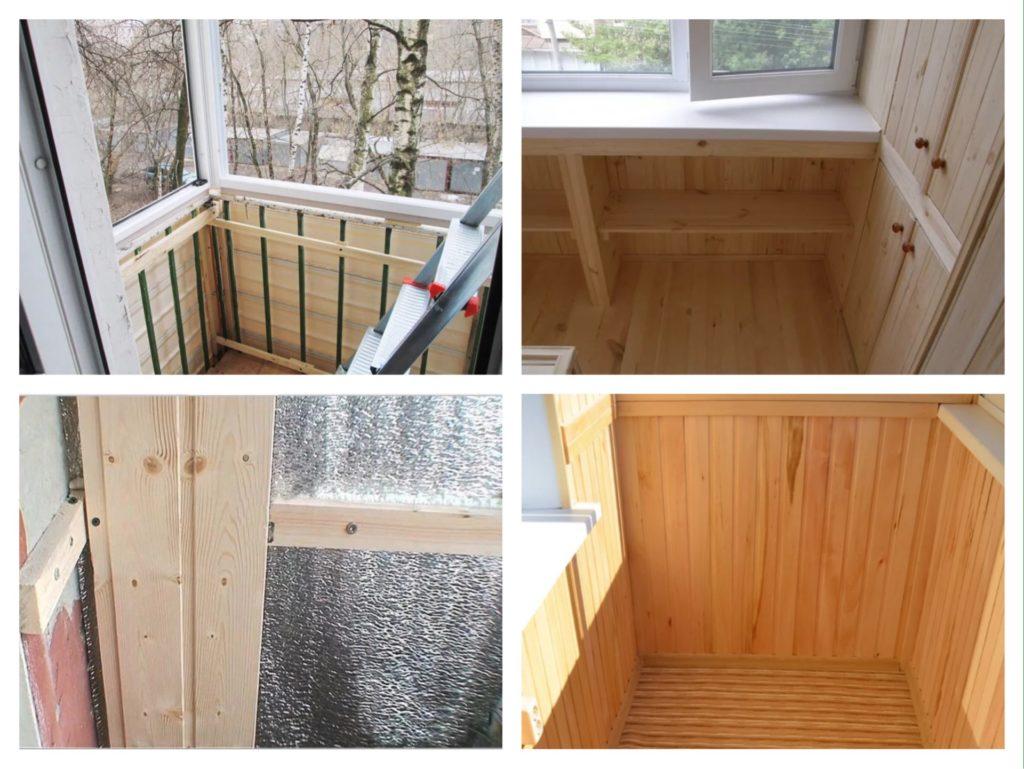 этапы обшивки вагонкой балкона фото
