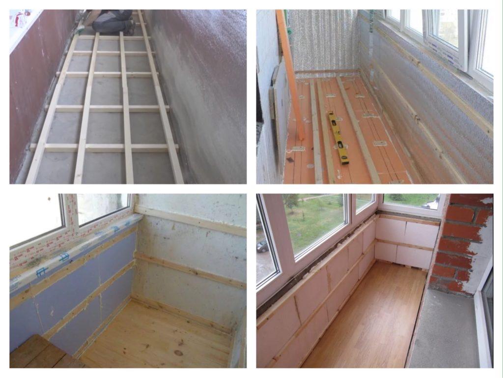 этапы утепление пола балкона лоджии фото