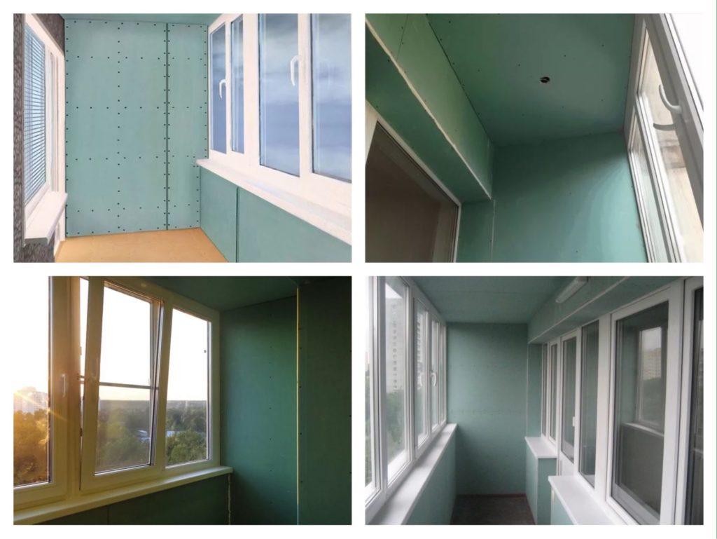 отделка балкона гипсокартоном фото