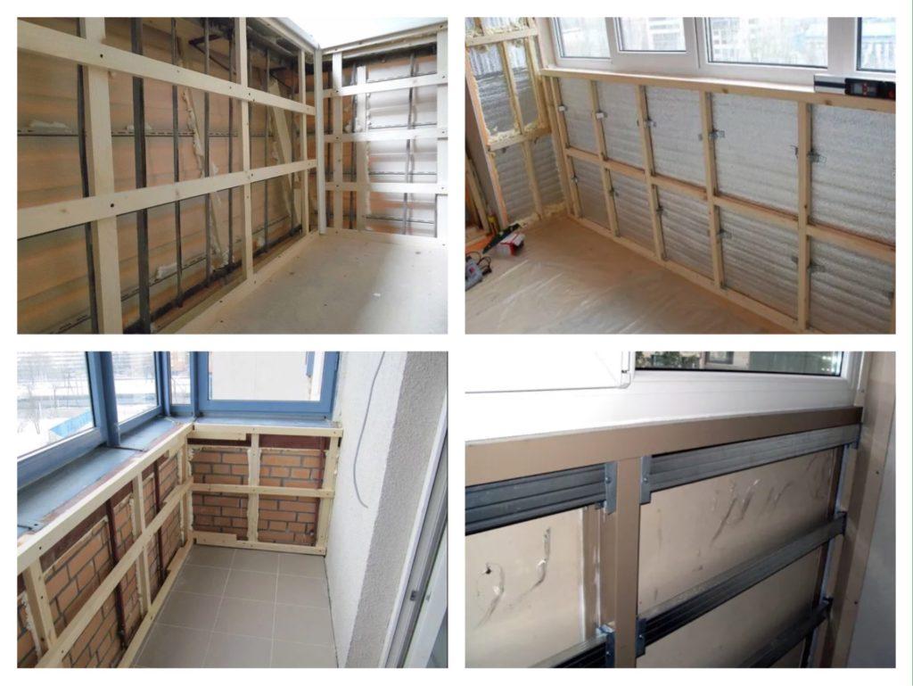варианты каркаса для обшивки балкона фото