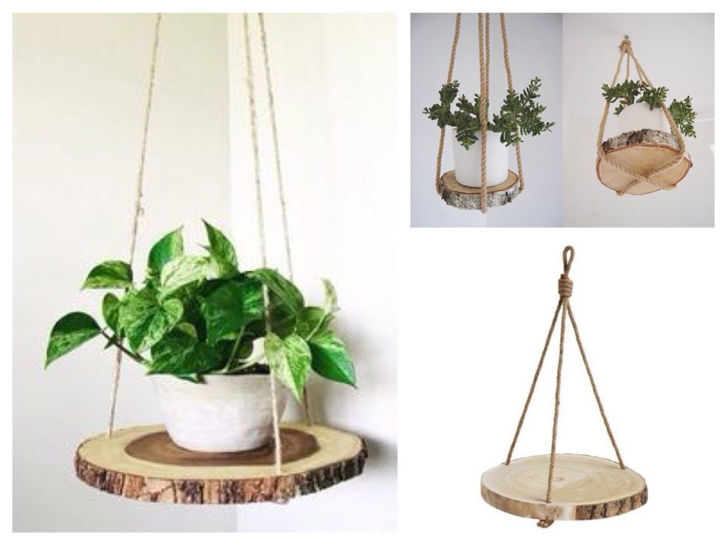 вариант подвесной полки для цветов на веревке